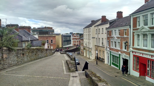 Walking along the wall of the walled city, Derry/Londonderry.