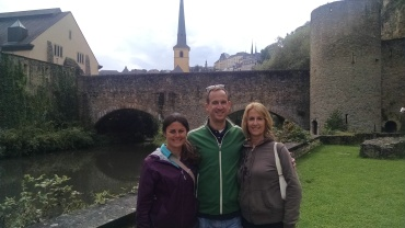(l-r) Tara, Jeremy, Kathy in the old city of Luxembourg