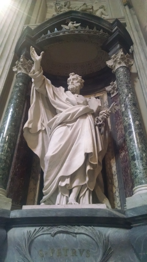 Beautiful sculptures line the interior of St Johns Cathedral. Sculpture of St Peter - see the keys in his hand?