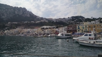 Arriving to the Island of Capri, Italy by ferry.