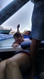 All cozy in the row boat for the Blue Grotto - Capri, Italy.