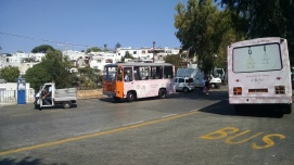 Small busses and cars on the Island of Capri, Italy.