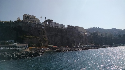 First views of Sorrento, Italy by ferry.