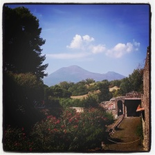 View of Mt Vesuvius from Pompeii, Italy.