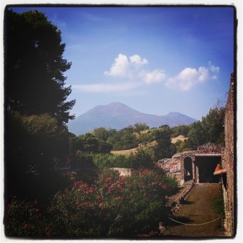 View of Mt Vesuvius from Pompeii, Italy.