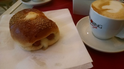 Pigs in a blanket for breakfast? Looking for some protein in Sicily.