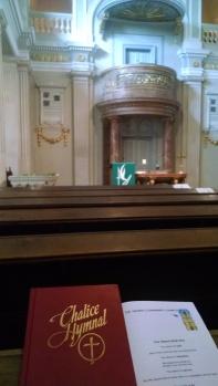 Inside Vienna Community Church on Sunday morning