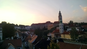 Sunset in Cesky Krumlov - castle in background.