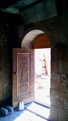 Monastery door with carved Khachkar