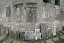 Khachkars (Armenian stone carved crosses) at Tatev Monastery