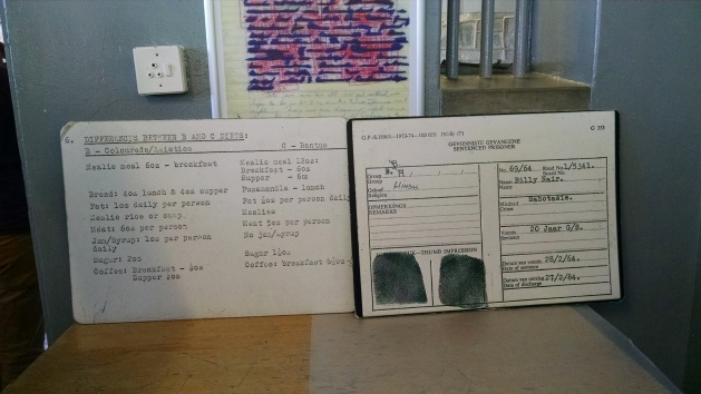 L: Menu for prisoners. Different food for Colourdes/Indians and Blacks. R: Prison ID Card