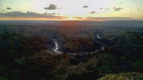 Fish River Canyon at sunset where the river bends